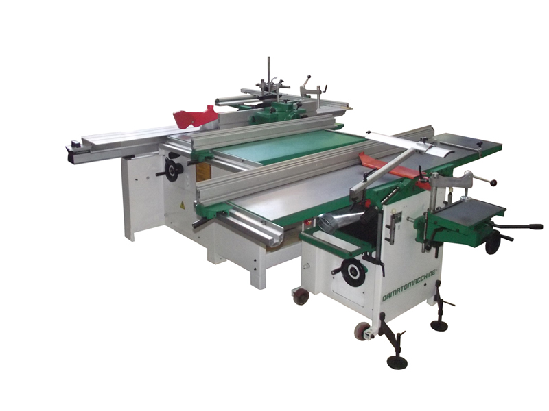 Split combination machine composed by a with a Table saw with circular blade Ø 315 mm, engraver, sliding carriage of 3000 mm, vertical spindle moulder and a Surface/Thickness Planner with Spindle lenght of 410 mm, 4 knives and mortiser integrated