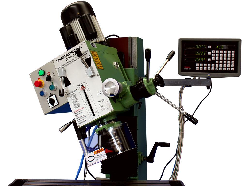 Fresatrice da banco semiprofessionale dodtata di DRO modello Orion 3.2 Digit di Damatomacchine