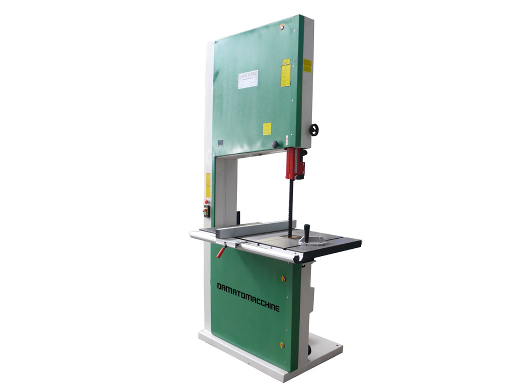 Band saw for wood of professional type equipped with flywheels in cast iron 800 mm diameter , saw table and tiltable three-phase motor with a power of 4 horses