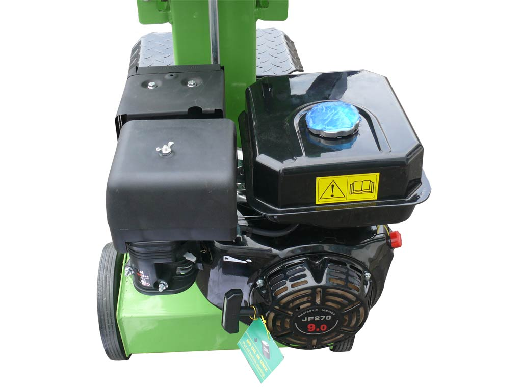 Hydraulic log splitter of the vertical type with a power of 14 tons powered by a combustion engine from 9 horses . Ideal for chopping wood independently and effortlessly