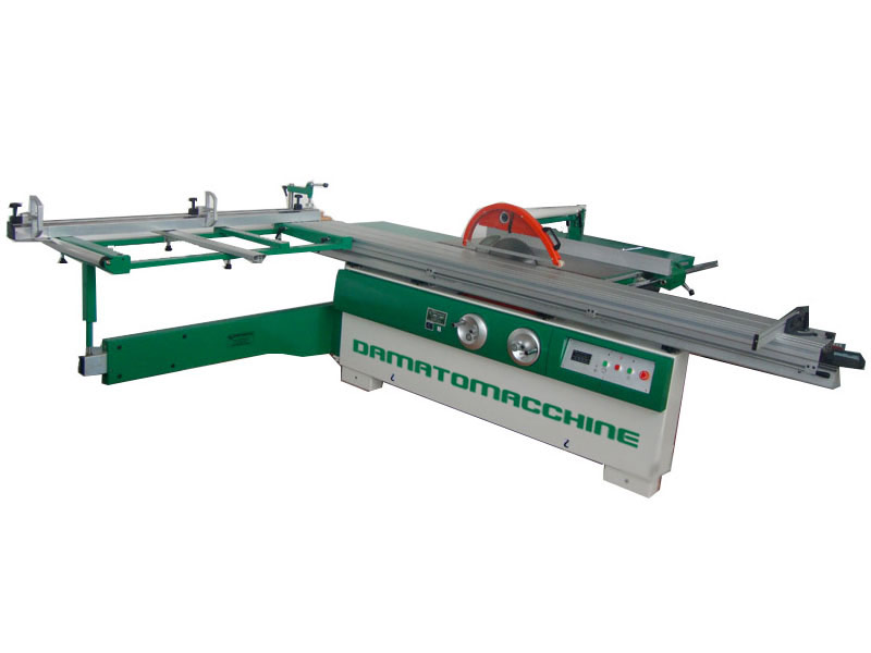 Professional table saw with circular blade Ø 355 mm, engraver with variable speed and  sliding table on a beam close to the blade  length 3200 mm