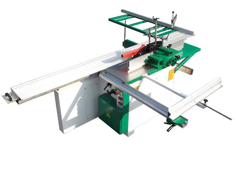 Table saw for equiped with circular saw Ø 315 mm height adjustable and tilt up to 45°, engraver, carriage 3000 mm and vertical spindle moulder