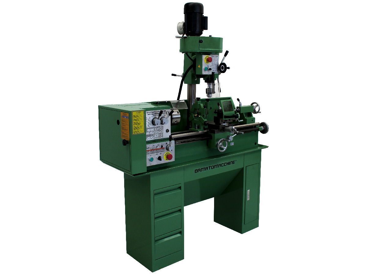 Metal lathe with milling machine Newton 25L3 model by Damatomacchine