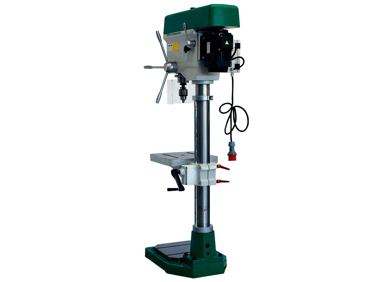 Column drilling machine with integrated  manual lowering milling machine