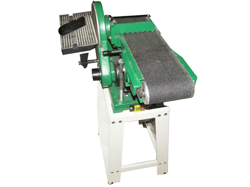 Sanding machine for wood with abrasive belt and disk powered by a single-phase motor 1 CV